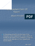 Memorandum Form of Report