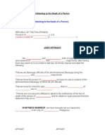 Affidavit Attesting to the Death of a Person