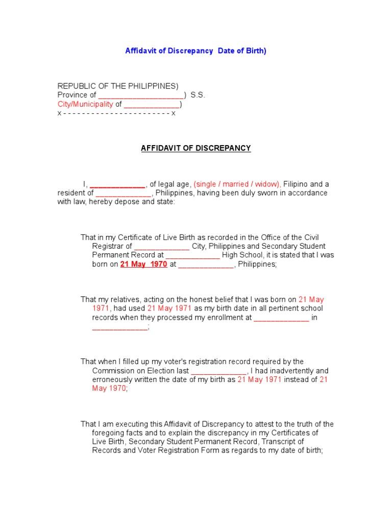 Affidavit of discrepancy date of birth aiddatafo Image collections