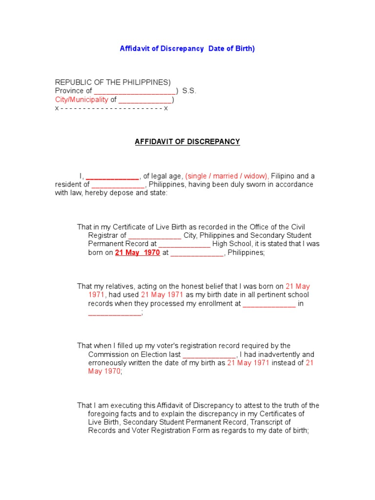 Affidavit of discrepancy date of birth yelopaper Choice Image