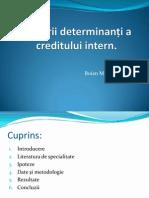 Factorii Determinanți Ai Nivelurile de Credit Interne În