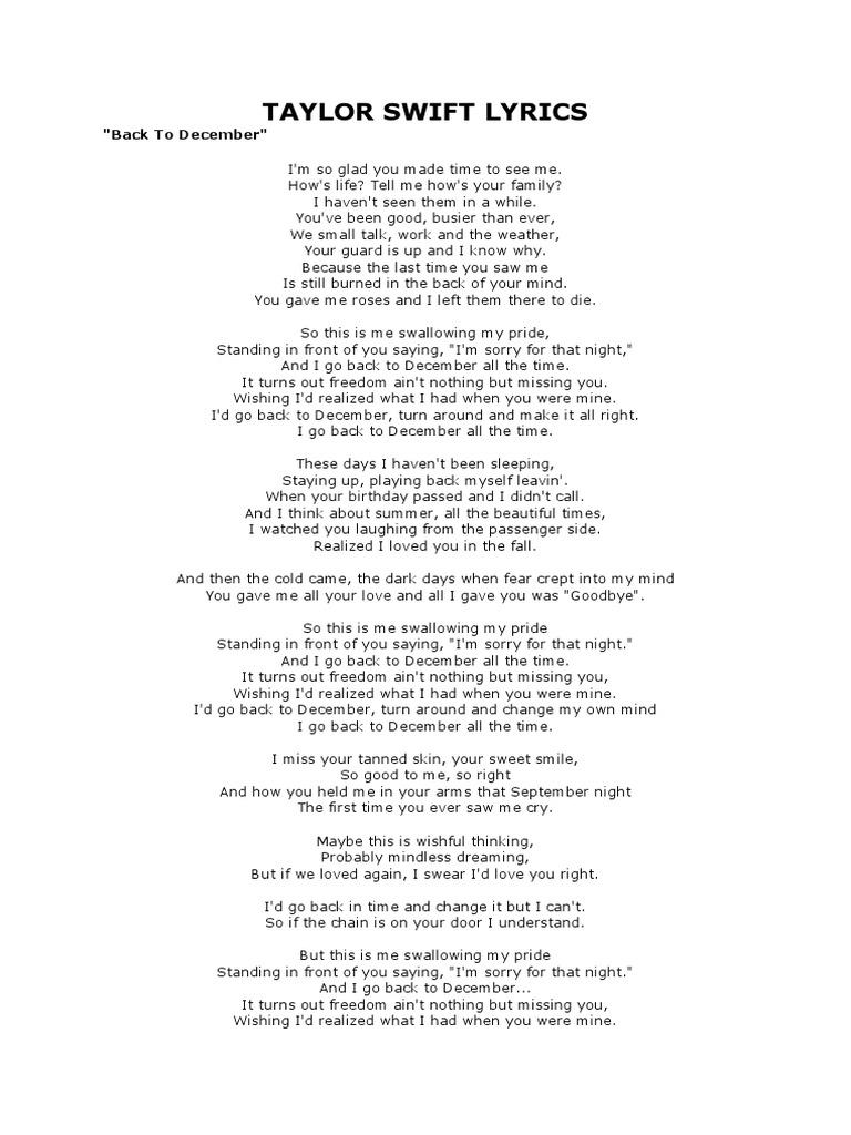 Taylor Swift Lyrics Back To December