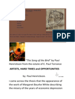"""Song of the Bird"" was originaly a docuent placed on Scribd under a different title ""Artists, Hard Times and Opportunities"" but was intended for another venue which presented some technical difficulties.