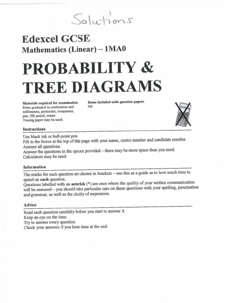 Gcse maths topics tree diagram answers ccuart Gallery
