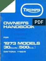 Triumph T100R Daytona - Owners Manual 1973