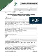 Nutrition Consultation Questionnaire