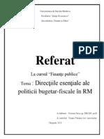 Directii Esentiale Ale Politiciii Bugetar-fiscale in R M