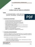 22012013 - Cr - La Fiche de Poste Outil de Management