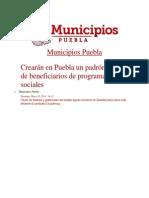 18-05-2014 Municipios Puebla - Crearán en Puebla un padrón único de beneficiarios de programas sociales.