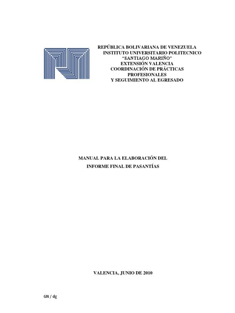 Instructivo de Informe de Pasantías