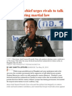 Thai Army Chief Urges Rivals to Talk After Declaring Martial Law