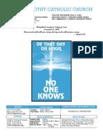 St. Timothy Bulletin for November 15, 2009