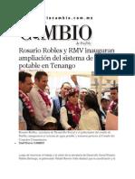 17-05-2014 Diario Matutino Cambio de Puebla - Rosario Robles y RMV inauguran ampliación del sistema de agua potable en Tenango.