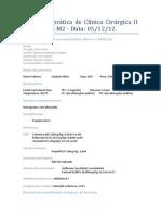 Relatório Da Aula Prática de Clínica Cirúrgica II OSH Eletiva