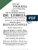 1735 - Reglas de Ortografia en La Lengua Castellana - Antonio de Lebrija - Madrid, 1735