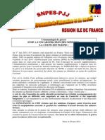 Communiqué de Presse Incarcération Des Mineurs en Ile de France
