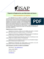 Paquete de Reglamentos Municipales SONORA Isap