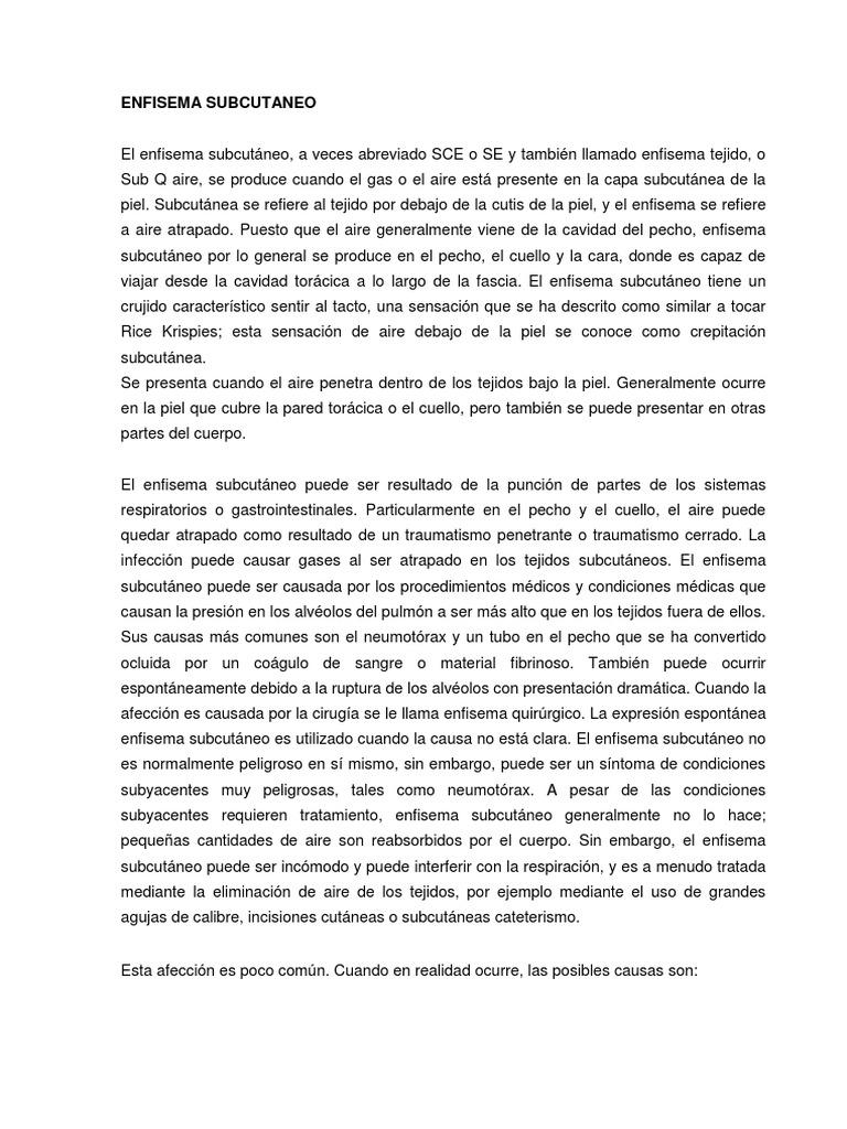 Subcutaneo tratamiento de pdf enfisema