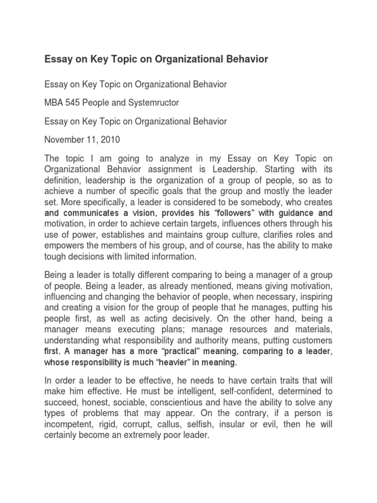 Organizational Behavior Essays: Examples, Topics, Titles, & Outlines   Page 4