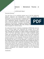 Organizational Behavior - Motivational Theories at Mcdonald's Report