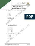 Matematika Dasar SPMB 2005