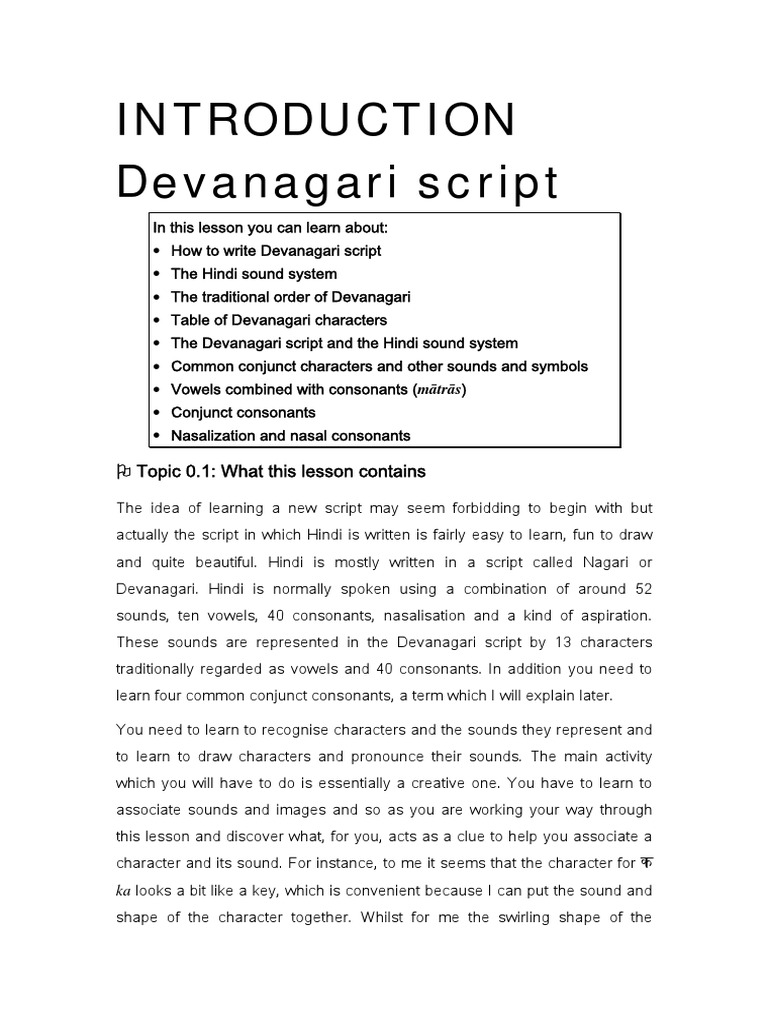 Introduction to the Devanagari Script   Consonant   Orthography