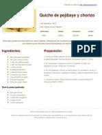Sabores en Linea - Quiche de Pejibaye y Chorizo - 2013-12-10