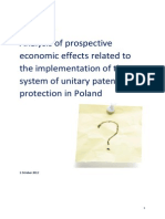 Analysis of prospective economic effects related to the implementation of the system of unitary patent protection in Poland