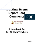 Creating Strong Report Card Comments - A Handbook for Jr and Sr High Teachers