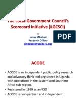 Presentation on the Local Government Councils' Scorecard Initiative