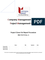 Project Close Out Report Procedure Rev A