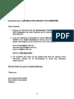 Examination Timetable January 2014 Semester