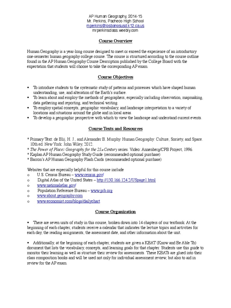 aphg syllabus 2014 15 test assessment educational assessment