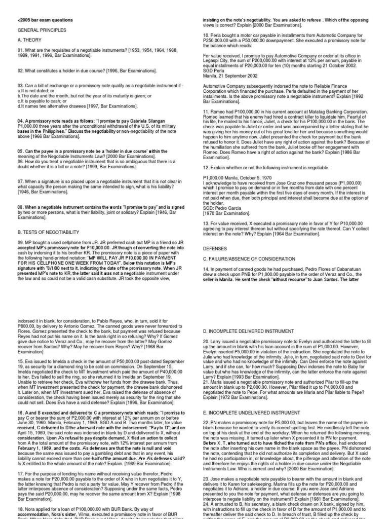 Negotin Bar Exam Questionscx Negotiable Instrument Promissory Note Blank  Check