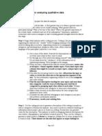 Generic Steps for Analysing Qualitative Data