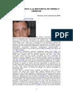 Carta Abierta de Marco Arana a La cia de Tierra y Libertad - Bruselas 10.11.2009[1]