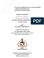 A Study on the Financial Perfomance of Western India Plywoods