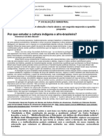 1ª Avaliação Bimestral Ed. Ind. 8ºP-Ped e Hist - 2013.2