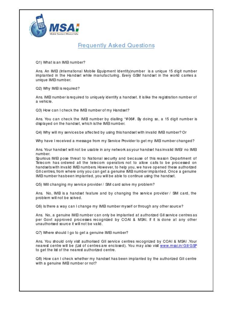 Genuine IMEI Implant Program (GII) FAQ | Telecommunications