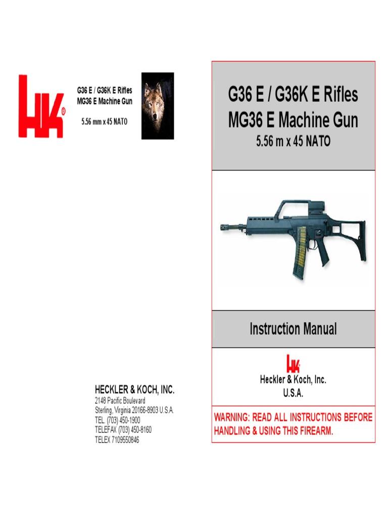HK G36 Assault Rifle Manual | Telescopic Sight | Firearms