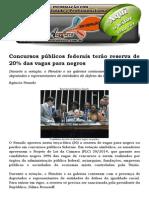 Concursos Públicos Federais Terão Reserva de 20% Das Vagas Para Negros