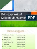 Prinsip-prinsip & Macam Manajemen