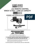 Chicago Portable Remote Control Winch 12 Volt 300 LB Model 9512