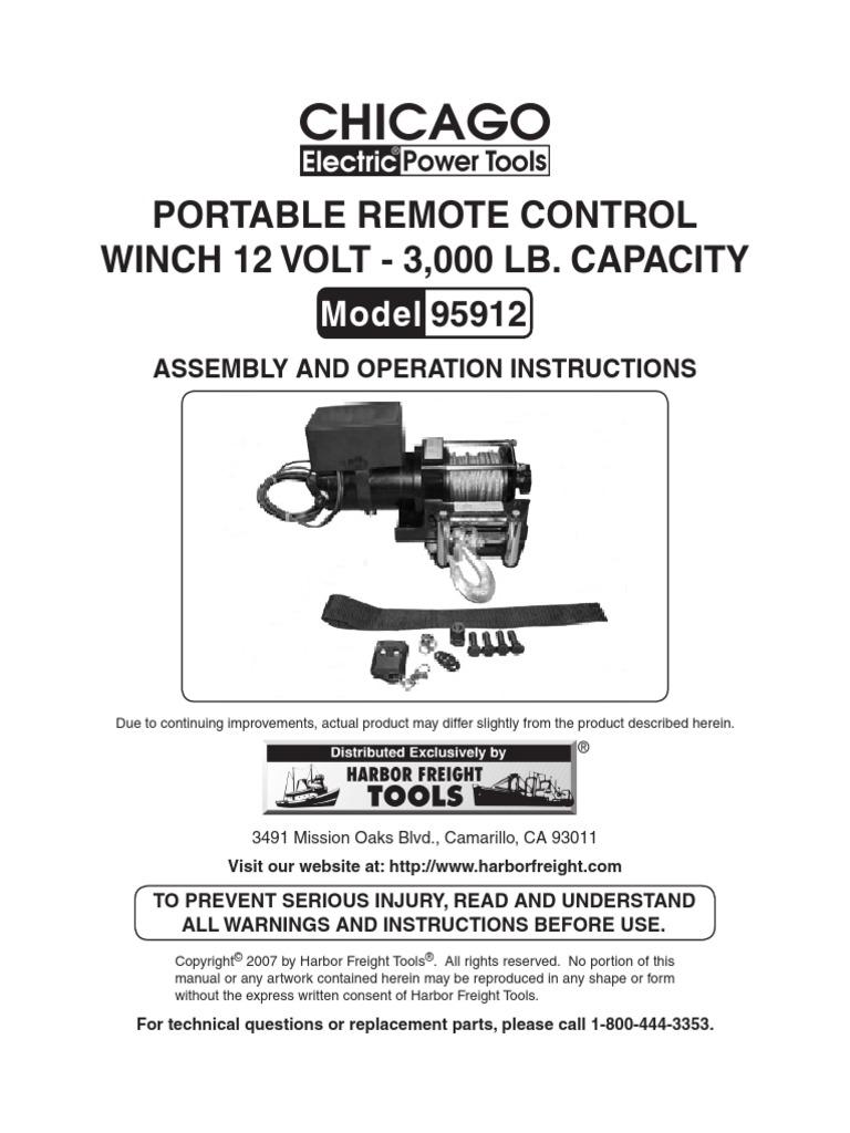 Chicago Portable Remote Control Winch 12 Volt 300 Lb Model 9512 Wiring Diagram Screw Cable