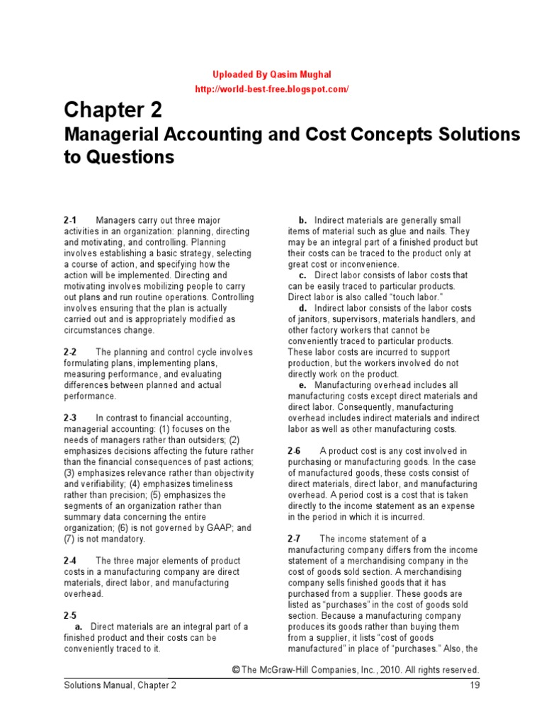 Managerial accounting garrison edition 13 Chap 002 | Cost Of Goods Sold |  Inventory