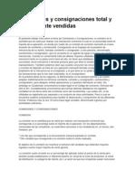 Comisiones y Consignaciones Total y Parcialmente Vendidas