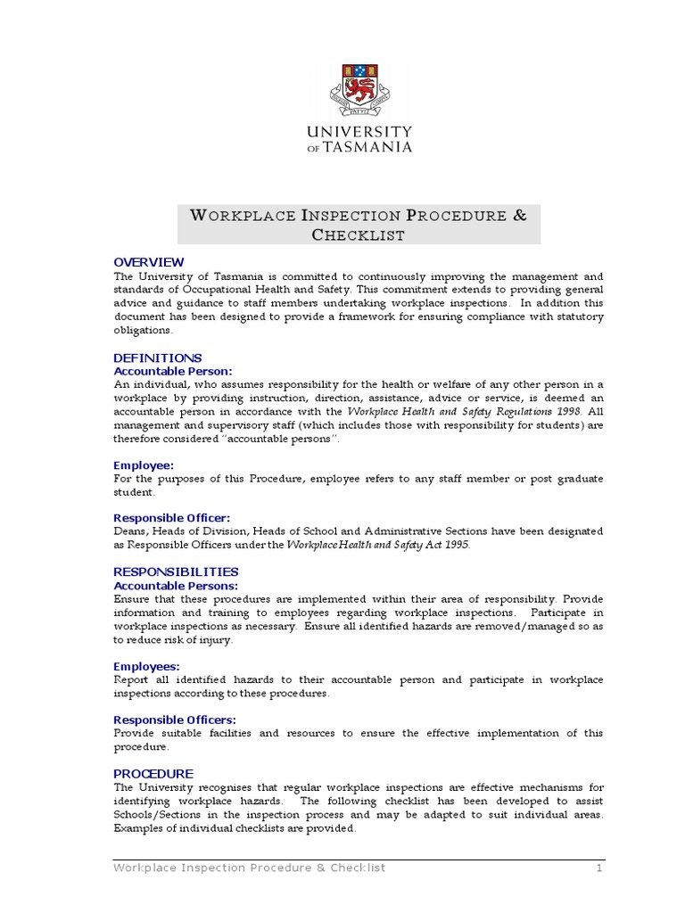 Contoh Workplace Inspection Procedure and Checklist PDF 1.1MB ...