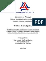 Investigacion de La Influencia Del Clima Social en El Contexto Escolar Universitario de La Facultad de Derecho y La Facultad de Humanidades