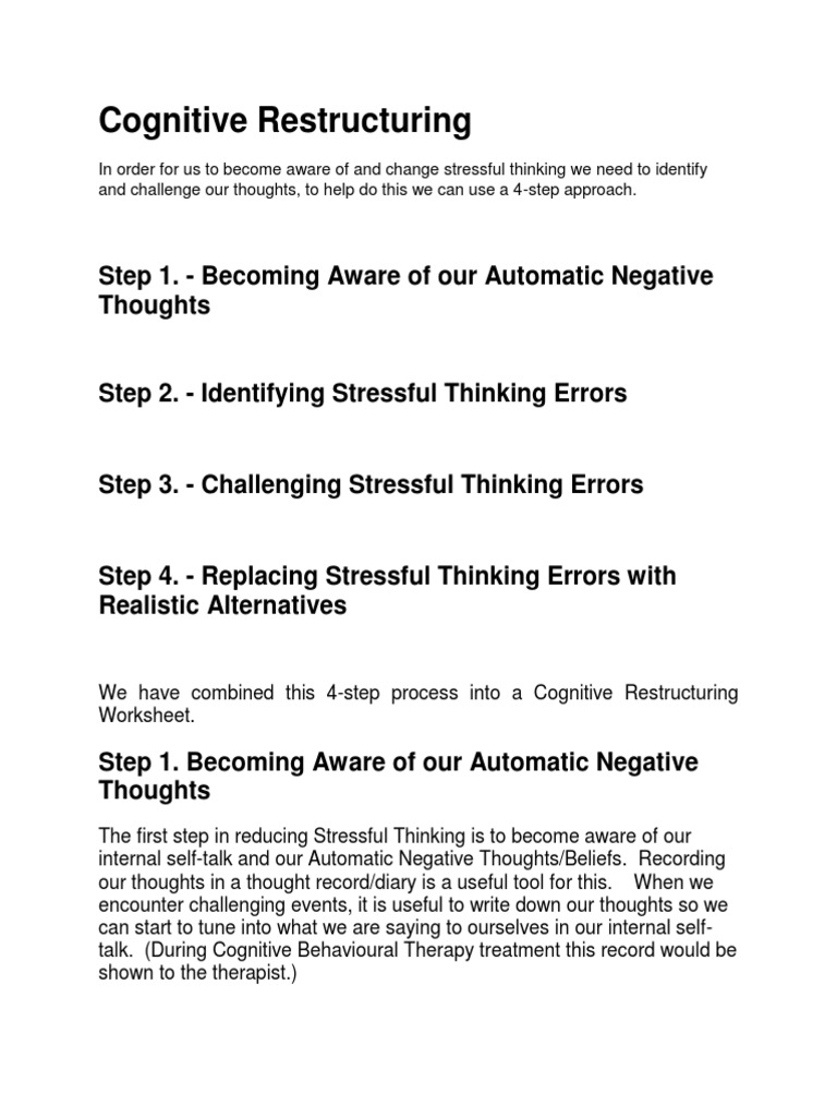 Automatic thoughts worksheet cognitive