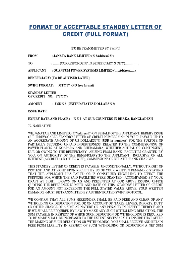 SBLC Format Draft | Withholding Tax | Letter Of Credit
